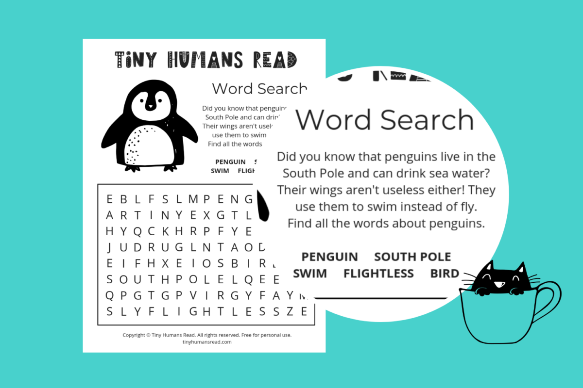 Tiny Humans Printable for Kids - Penguin Word Search