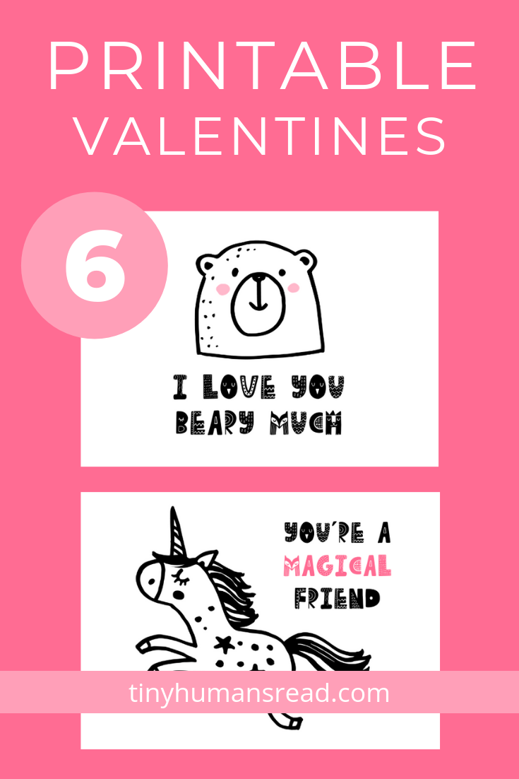 5x7 Printable Valentines for Kids - Set of 6, Front & Back - Whether planning ahead for Valentine's Day or needing last minute class valentines, these 5x7 printable valentines for kids are here to save the day!