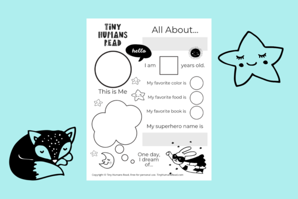 Tiny Humans Read Printables for Kids- All About Me Worksheet
