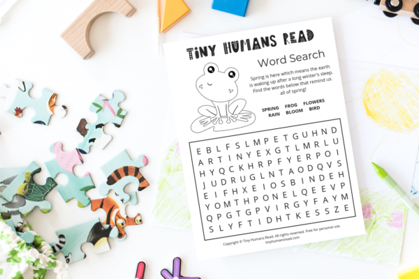 Spring Word Search for Preschoolers Printable for Kids from Tiny Humans Read