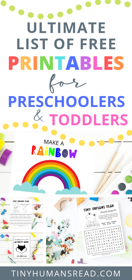 Printables for Toddlers and Preschoolers | Tiny Humans Read